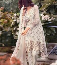 Buy White embroidered Georgette unstitched salwar with dupatta dress-material online