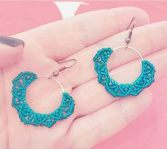 Micromacrame earrings teal small hoop