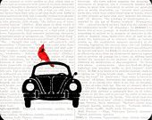 Cardinal Rides VW Bug Mouse Pad Dictionary Book Page art collage decorative $10