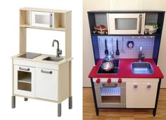 Ikea Duktig Kitchen Hack, Make-over. Nordic/Dutch Style with LED Lamps.