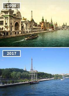 Bords de Seine 1900...2017... L'expo universelle était passée par là à Paris... #France #Paris #tourisme #histoire #vintage