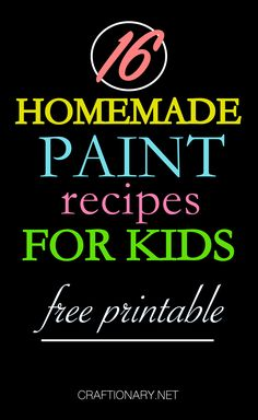 Homemade paints are easy, fun and affordable. Make them with the help of this best homemade paint recipes free printable for kids with DIY paint tutorials. Kids Fun, Cool Kids, Activities For Kids, Crafts For Kids, Homemade Paint, Niece And Nephew, Diy Painting, Fun Projects, Kids Meals