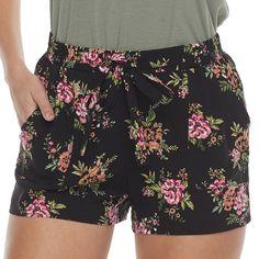 Juniors' Joe B Tie Front Soft Shorts, Black Floral