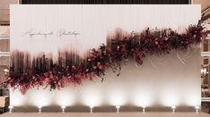 #teaceremony #apichxchatch Wedding Backdrop Design, Wedding Reception Backdrop, Wedding Stage Decorations, Backdrop Decorations, Backdrops, Deco Floral, Arte Floral, Flower Installation, Hanging Flowers