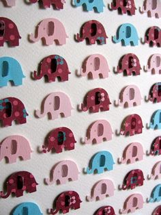 SALE 3D Baby Elephant Whimsy Collage. Turquoise. Pink. Burgundy. Nursery Decor. Baby Shower. Paper Art. 8x10 inches on Etsy, $38.12 CAD