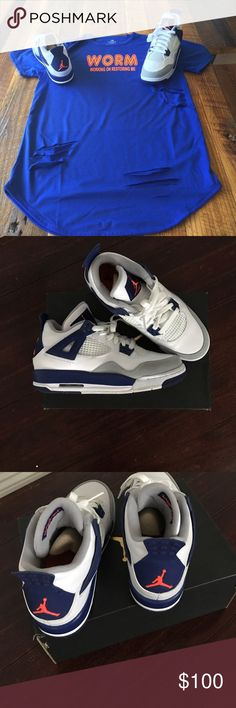 Air Jordan Retro 4 White, Hypr orange, Royal Blue and White Jordan Shoes Sneakers
