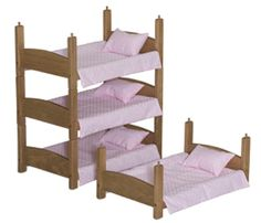 """DOLL BUNK BED 3 Stackable Baby Beds Handmade for 18"""""""" Dolls in Pink Oak or White"""
