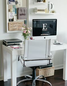 I absolutely love this look for the study area, a little shelving and framed cork board <3 seems kinda Carrie Bradshaw to me :) haha