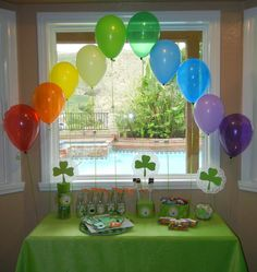 Welcome and Happy Saint Patrick! – Michelle & # s Party Plan-It – St Patrick's Day Crafts DIY St Patrick's Day Decorations, Balloon Decorations Party, St Patrick Decorations, Balloon Display, Rainbow Decorations, Balloon Arch, Fete Saint Patrick, Happy St Patricks Day, Saint Patricks