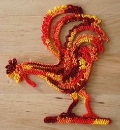 Crochet Rooster applique fridge magnet by theMeticulousWhim