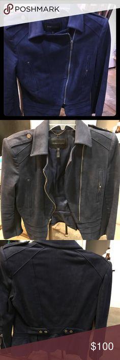 BCBG MAXAZRIA NAVY SUEDE JACKET Lightly worn. Size XS Jackets & Coats Blazers