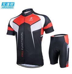 ARSUXEO Mens Cycling MTB Shirts Wear Short Sleeves Jersey Mountain Bike  Bicycle Sets Mtb Bike 75ce37edb