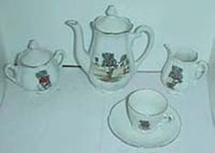 Child's German Sporting Elephants antique toy tea set