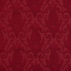 Red, Pineapple Jacquard Woven Upholstery Grade Fabric By The Yard 1