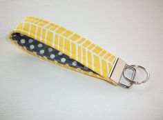 Key FOB / KeyChain / Wristlet key strap - yellow herringbone with white polka dots on gray - gift for her under 10  preppy / fabric / cute / patterns / key chain / office, nurse, student id, badge / key leash / gifts / key ring