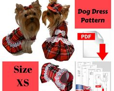 Dog clothes dress PDF for small dog pattern Dog dresses pdf dog clothes Small pet dog dress Pattern dog clothes Small dog clothes Size XS
