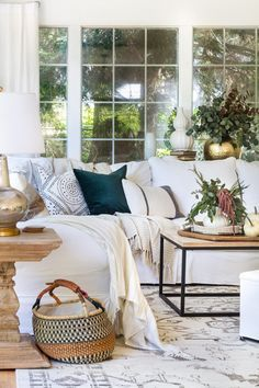 cozy and inviting family room with touches of fall
