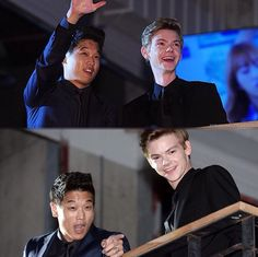 Thomas Sangster and Ki Hong Lee in Korea for the #scorchpremiere