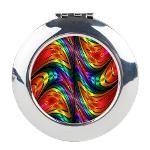 #Fractal #Silk #Rainbow #Round #Compact #Mirror