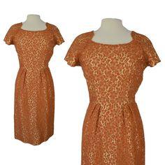 9438e9e907fd Vintage 50s Dress   50s Orange Satin Lace Brocade Wiggle Cocktail Pin Up  Dress   Medium M