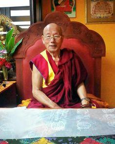 Khensur Rinpoche Lobsang Tsephel, el director espiritual de la Tierra del Buda de la Compasión, nació en Litang, Tíbet en 1931. Fotografía tomada en agosto de 2017 en la Gompa de la Asociación Tibetano Costarricense por Jeffry Vindas y editada por Esteban Kong .