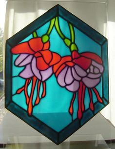 Fuchsia - stained glass effect window painting / cling - 28 x 21 cm. £15.00, via Etsy.