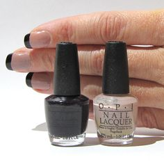nude nails with dark tips  OPI Tickle my france-y = the nude colorOPI Lincoln park after dark = a really dark, almost black, amber colorthese are both mini polishes from the best of the best OPI set.