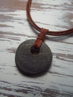 Scottish Sea Pebble  Necklace- Unisex Surfers Necklace - Leather-SeaGlass-Beachwear-Surfwear