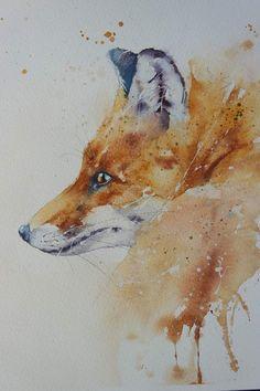 Watercolor Animals, Watercolor Paintings, Original Paintings, Original Art, Watercolours, Fox Painting, British Wildlife, Fox Art, Animal Paintings