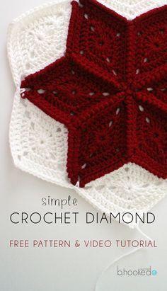 Diamond Granny Square Motif By Brittany - Free Crochet Pattern - (bhookedcrochet)