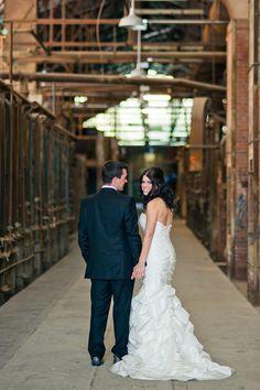I dig the juxtaposition of grunge and wedding gorgeousness Friend Wedding, Wedding Things, Brewery Wedding, Wedding Photo Inspiration, Portrait Photographers, Love Story, Real Weddings, Grunge, Wedding Photos