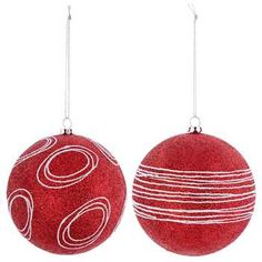 Red Glitter Ball Ornaments with White Swirls