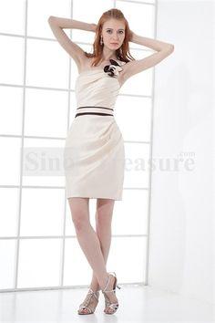 Beige Sheath/ Column Short/ Mini Sleeveless Bridesmaid Dresses