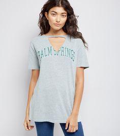 Grey Palm Springs Choker Neck T-Shirt | New Look