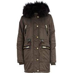 Grey faux fur lined padded parka jacket - parkas - coats / jackets - women