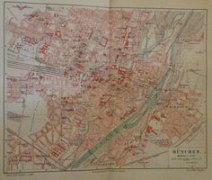 1896 MÜNCHEN DEUTSCHLAND alte Landkarte Stadtplan Antique City Map Lithographie