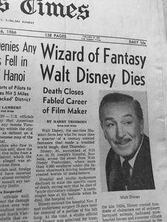 But still lives on through his stories Newspaper Front Pages, Old Newspaper, Disney Love, Disney Magic, Peliculas Walt Disney, Walter Elias Disney, Newspaper Headlines, Disney Facts, Disney Quotes