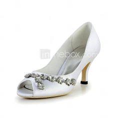 Pretty Satin Stiletto Heel Peep Toe Pumps with Rhinestone Wedding Shoes(More Colors) - USD $ 69.99