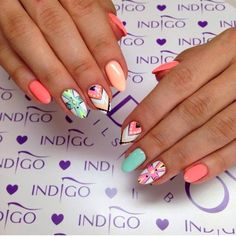 by Ania Leśniewska Indigo Educator. Follow us on Pinterest. Find more inspiration at www.indigo-nails.com #nailart #nails #indigo #aztec #pastel