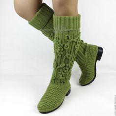 Knitted boots | Купить Сапоги вязаные демисезонные - оливковый, Вязаные сапоги, сапоги вязаные, обувь ручной работы