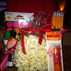 Teacher gift...new pencils, expo markers, stickers, lip balm and some chocolate popcorn!
