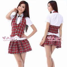New 2014 Fashion Red plaid student uniform school student school wear uniform class service ds cosplay costume