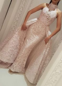 Evening Formal Dresses Yousef Aljasmi High Neck Detachable Over Skirt 2018 Lace Dubai Arabic Mermaid Occasion Prom Dress See Through