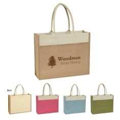 Jute Tote With Front Pocket. COLORS AVAILABLE: Beige, Light Blue, Green or Poppy, all with Natural Accents and Handles. Made From 100% Pure Natural Jute, A Natural Vegetable Fiber. Custom printed with large imprint area. Great for gifts, branding opportunities, marketing, advertising and more.