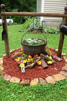 Campfire flower bed