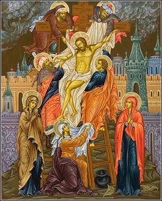 """""""Deposition from the Cross"""" Cathedral Icon Religious Images, Religious Icons, Religious Art, Byzantine Art, Byzantine Icons, Russian Icons, Mary Magdalene, Catholic Art, Orthodox Icons"""