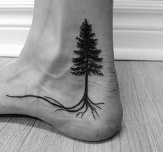 Remarkable Ankle Pine Tree With Roots Tattoos For Males