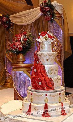 Wedding Cake Recipes 339177415679850264 - Indian style wedding cake / red and gold Henna design wedding cake. Source by marysepawloff Wedding Cake Red, Indian Wedding Cakes, Elegant Wedding Cakes, Elegant Cakes, Beautiful Wedding Cakes, Gorgeous Cakes, Wedding Cake Designs, Pretty Cakes, Wedding Cake Toppers