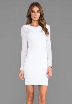 DONNA MIZANI Long Sleeve Splice Dress in Frost at Revolve Clothing - Free Shipping!