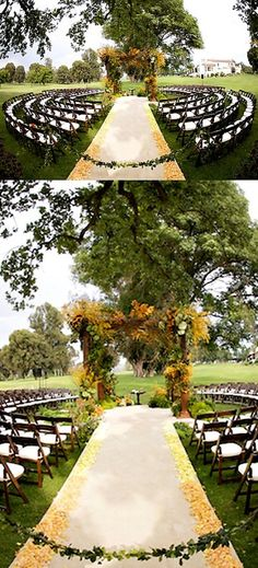 I love the round seating set up but make sure everyone has a pretty good view of the ceremony.
